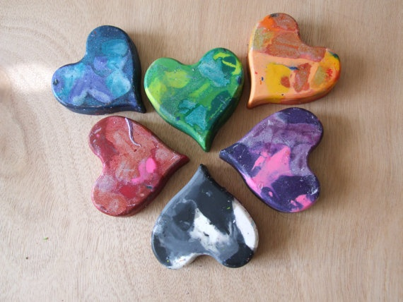 Heart Shaped Crayons of Mixed Colors  Set of 6 by ang744 on Etsy, $5.00Colors Sets, Mixed Colors, Heart Shape, Shape Crayons