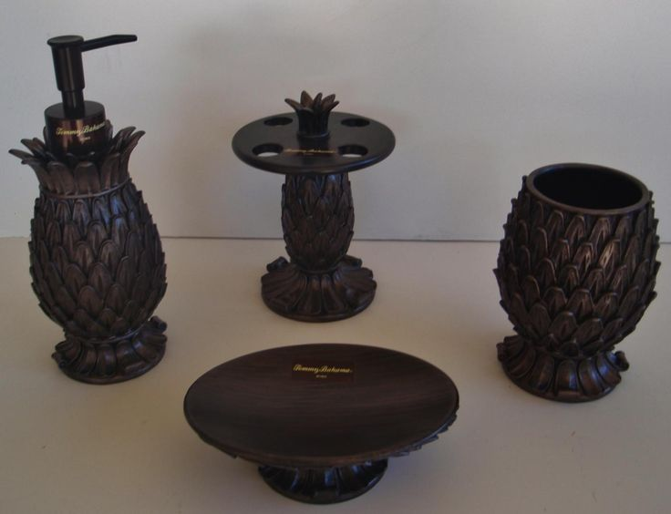 Tommy Bahama Sculpted Pineapple Ceramic Bath Accessories