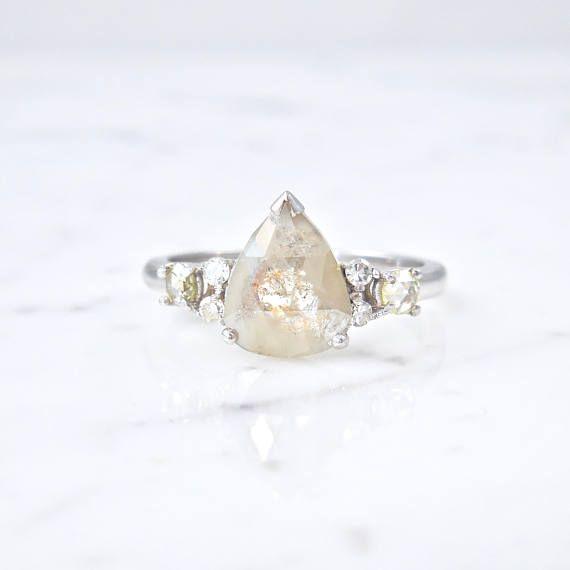 Pear Diamond Engagement Ring Grey Diamond Ring Pear Diamond