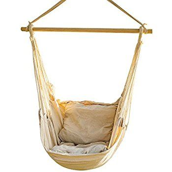 Medium image of amazon    swing hanging hammock chair with two cushions  white   sports