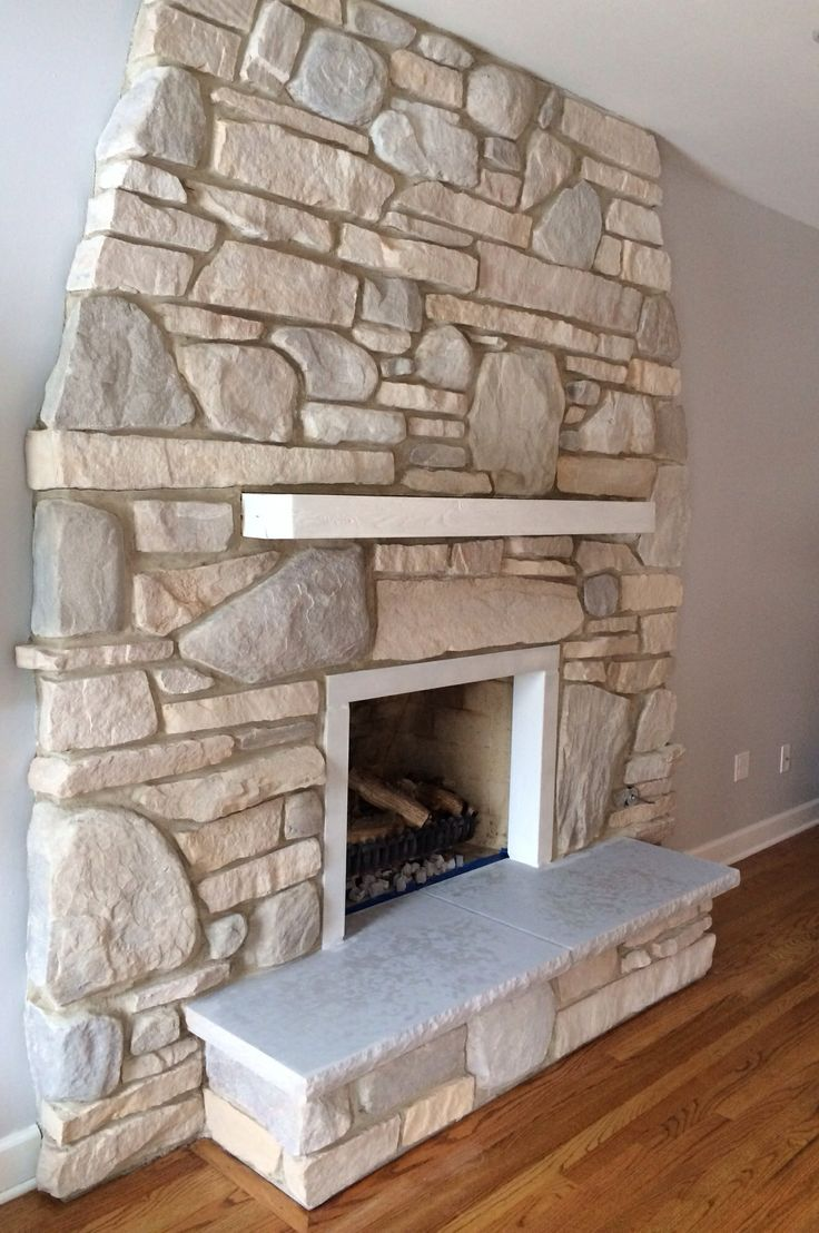 White Wash Stone Fireplace Makeover