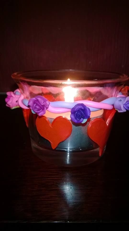 Fimo decorate candle holder