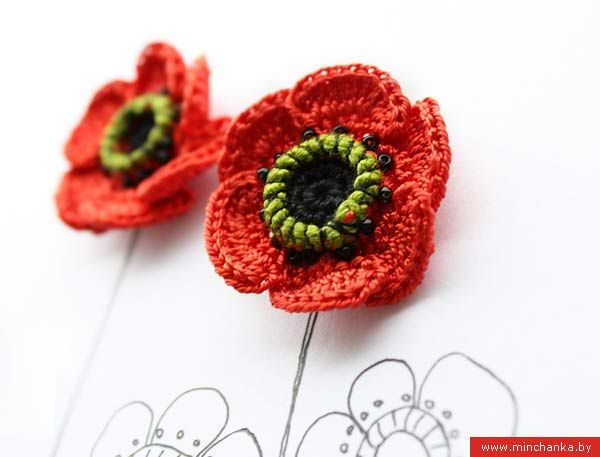 poppy (in Russian, with graphics)Crochet Flower, Flower Tutorials, Crochet Poppies, Jewelry Accessories, Crochet Jewelry, Crochet Earrings, Crochet Knits, Poppies Flower, Poppies Tutorials