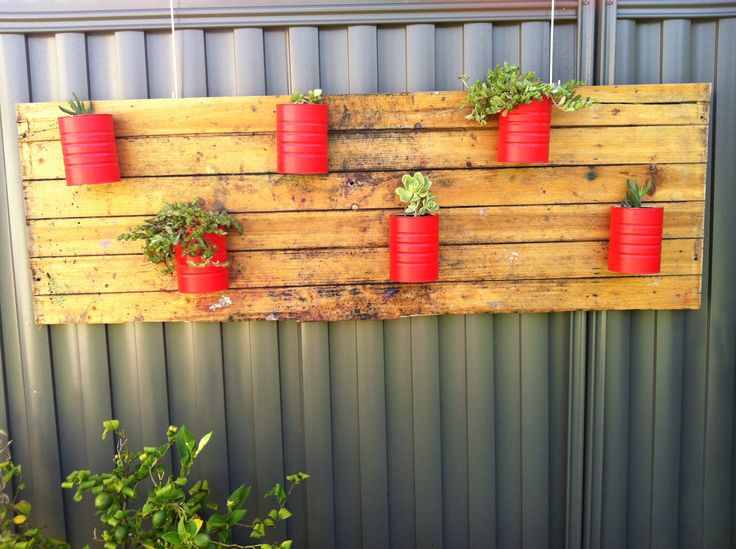 Painted formula tins from a friend attached to an old piece of wood I found to create a vertical garden