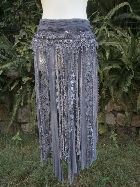 BURNING MAN bohemian skirt/belt with shabby detail...a work of art 34  across plus ties.....