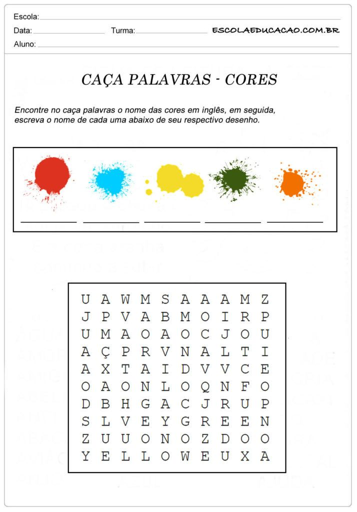 Atividades De Ingles Caca Palavras Para Imprimir Com Imagens