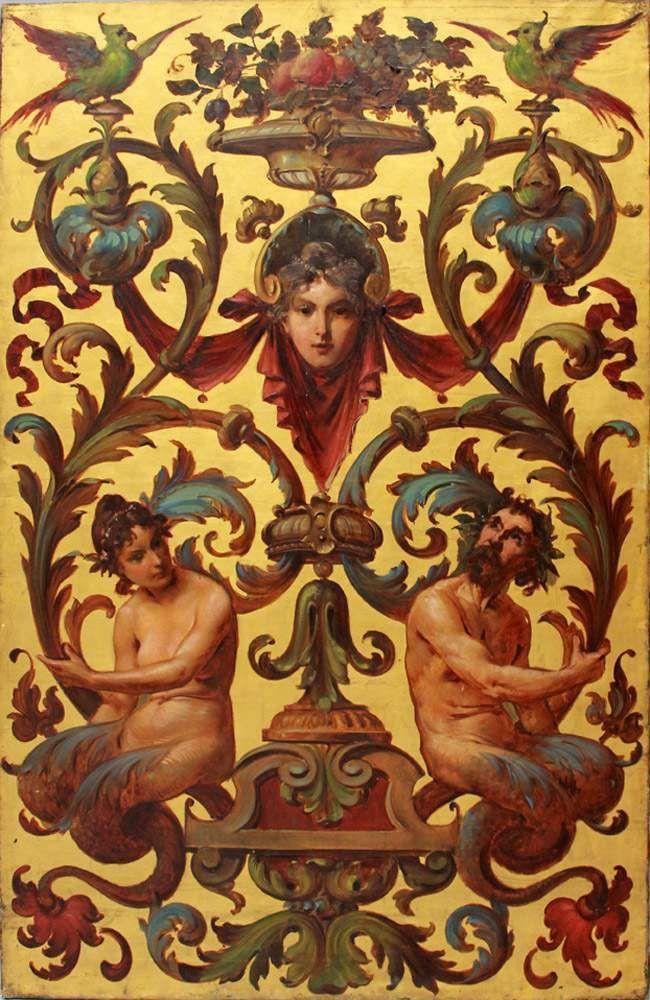 Unbekannter Maler (Wien, Ende 19. Jh.) Historismus-Dekorationsentwurf mit Groteskfiguren und Arabesk