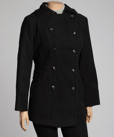 Take a look at this Black Peacoat - Plus by Fleet Street on #zulily today!  $59.99