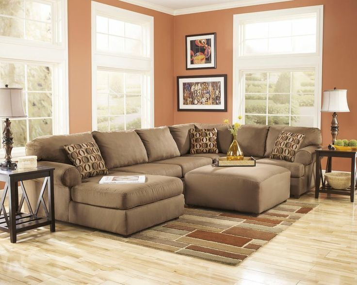Ashley Furniture Living Room Fusion | Ashley Cowan Mocha Brown Chaise Living  Room Sectional Sofa Ottoman ... | Decorating My New House | Pinterest |  Living ...