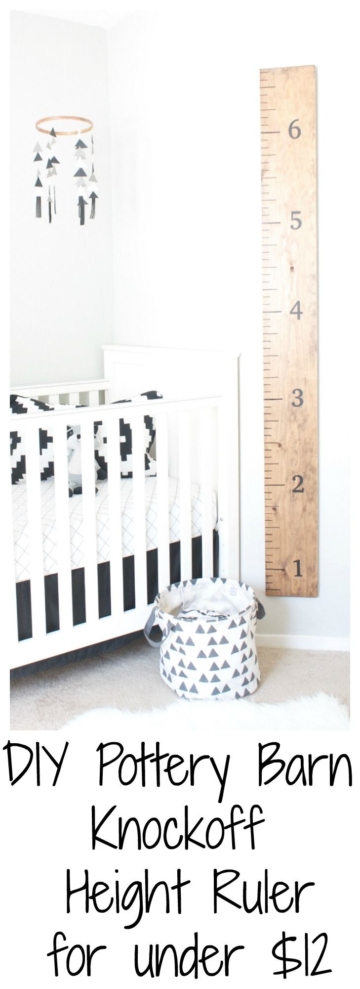 This DIY Pottery Barn Knockoff Height Ruler was so easy to make and I did it for less than $12! Even beginner DIY'ers can do this project!