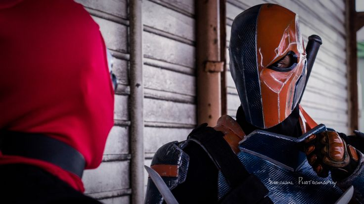 Deathstroke vs Deadpool  Deathstroke: Julian Gemmell of 'Dadpool Cosplay and Props' Deadpool: Zac Bennett  Photographer: Rebecca Kerr - Shiegurl Photography