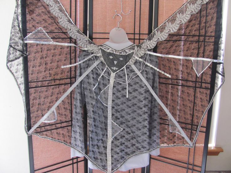 SEXY BAT CAPE, Black Silver Lace Vampire Cape, Sexy Silver Trimmed Bat Circular Belly Dance Veil, Lace Trimmed Black Veil Cape, Gothic Cape by VintageGypsieRose on Etsy