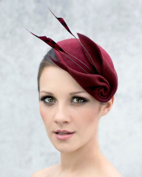 Fascinator Cocktail Hat with Feathers, Sculpted Wool Felt Headpiece, Mini Hat, Ascot Hat - Louisa