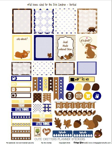 Cute Critters Planner Stickers for the Eclp | Free for personal use only