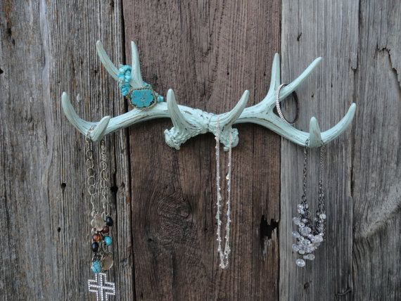 Large Antler Wall Rack , Jewelry Organizer , Faux Deer Antlers , Faux Taxidermy , Coat Hook Rack , Antler Hook , Mint Green