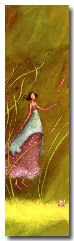 BOISSONNARD Marque-page La fille et l'oiseau rose