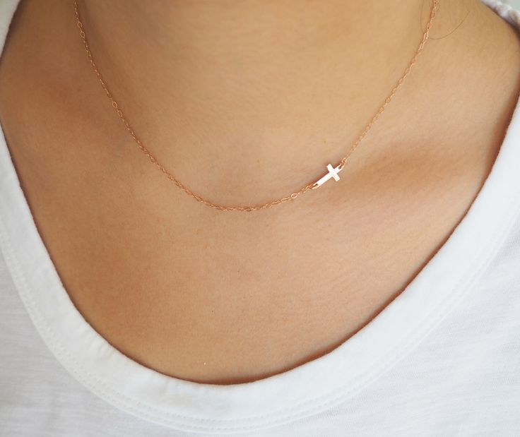 Rose Gold Cross Necklace, Off Side Cross Necklace, Rose Gold Necklace by MarianaEJewelry on Etsy https://www.etsy.com/listing/125676234/rose-gold-cross-necklace-off-side-cross
