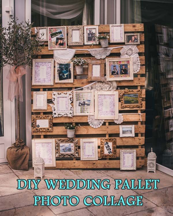 """Finding a way to creatively display photos at a wedding venue can be challenging. Often there just isn't a good wall or area to show off your pictures and if you're planning a rustic style wedding, you'll probably want to avoid the standard """"slideshow"""" that you see at every other wedding."""