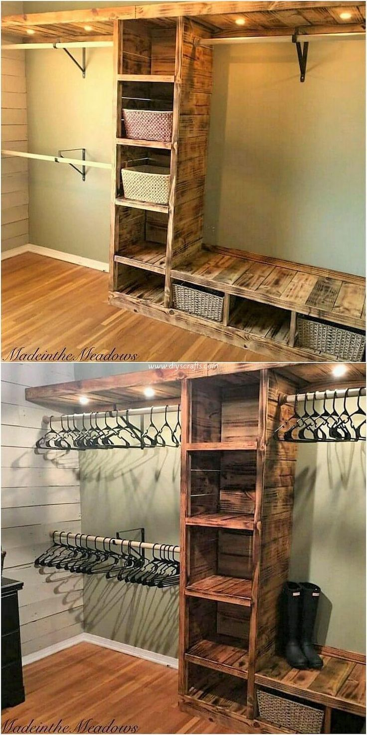 Modish Wood Pallet Projects For Your House Pallet Closet Diy Pallet Furniture Small Apartment Room