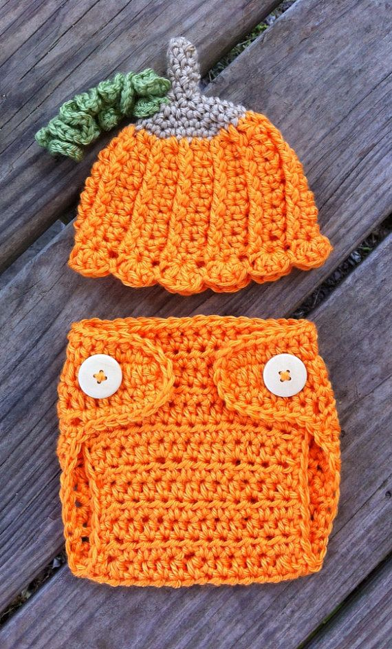 Newborn Girl or Boy Crochet Halloween PUMPKIN Beanie by shayahjane, $22.00