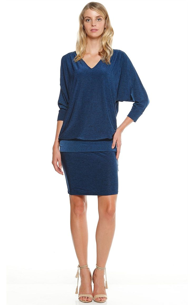 TAORMINA 3/4 SLEEVE REVERSIBLE STRETCH JERSEY BATWING DRESS IN INDIGO MARLE