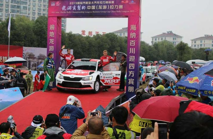Pontus Tidemand and Emil Axelsson (S/S) win at the season finale of the FIA Asia-Pacific Rally Championship (APRC) in China. Photo: Škoda Auto