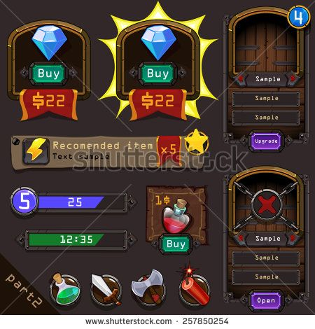 Interface games design (vector elements) - stock vector