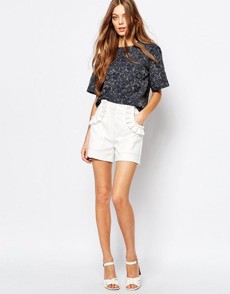 Image 1 ofPaul and Joe Sister Frill Pocket 60s Shorts in White