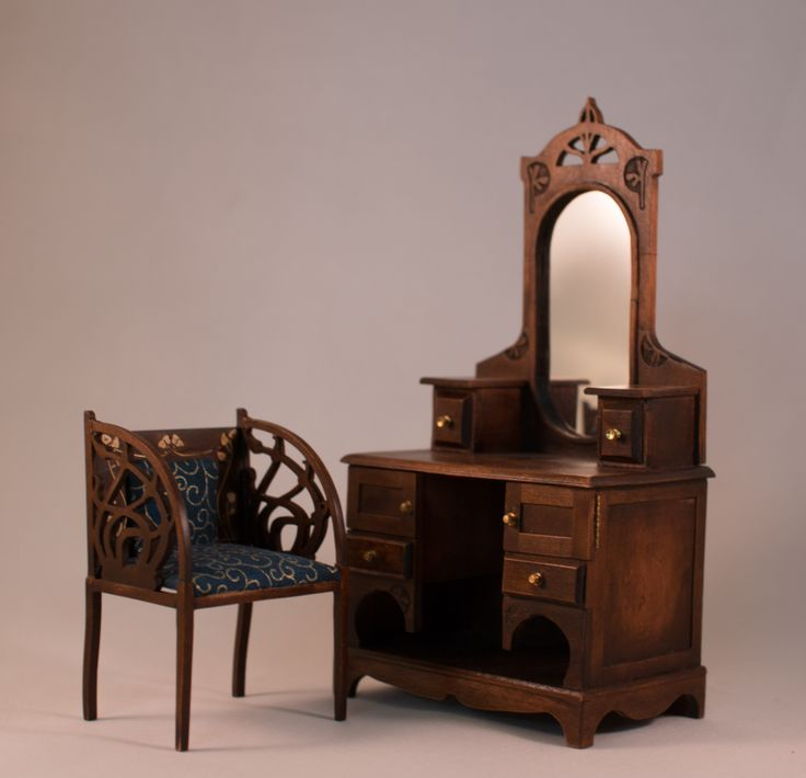 mini doll furniture. Art Nouveau Style Vanity And Chair By Www.inchscaled.com. Miniature Dollhouse Mini Doll Furniture D