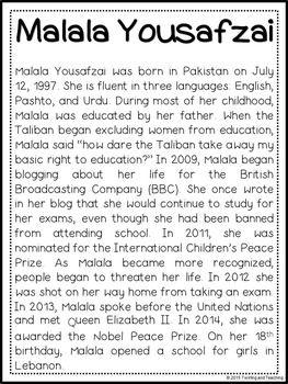 Malala Yousafzai Mini Unit - Reading Passage, Graphic Orga