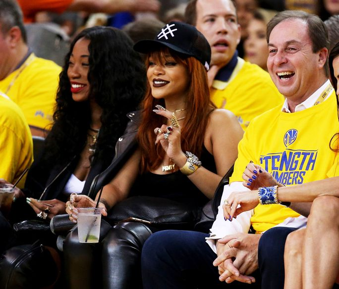 Rihanna made a stylish appearance at Game 1 of the NBA Finals.