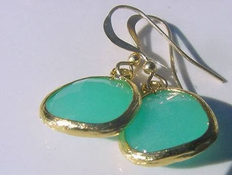 Mint quartz with matte gold and 9ct gold French ear wires