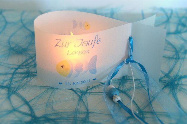 ♥ Ein toller Hingucker für eure Festtafel. ♥ ♥ ♥   Das Do-it-Yourself Set besteht aus 6 Windlichtern (Lichthüllen) in Fischform bedruckt mit Namen, Taufdatum, Taufspruch und zuckersüßem Fischmotiv...