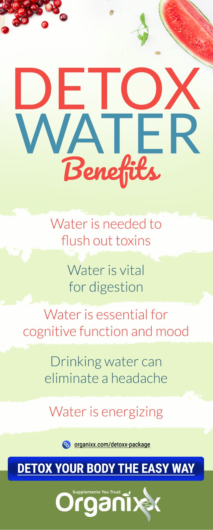 Detox Water Benefits: Watermelon, cucumber, lemon…oh my! We all know how good these wonderful, refreshing fruits and vegetables are for our health. But did you know that you can also put them in plain, filtered water to not only get some nutrients, but also stay well hydrated? Click on the image above to read on for 5 new easy-to-make detoxx water recipes that you won't want to go without in the new year. #DetoxRecipe #HealthyDetox #EasyDetox #DetoxMadeEasy