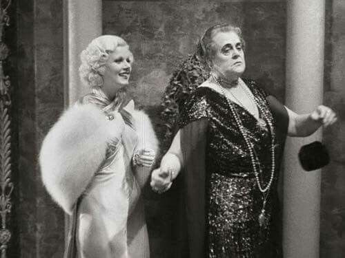 """Dinner at Eight 1933 Jean Harlow and the indomitable Marie Dressler  """"Reading a book?"""""""
