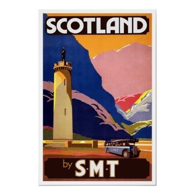 Vintage Scottish Bus Travel Poster by PrimeVintage