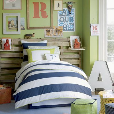 Charmant Trendy Decorating Idea Of Boys Bedroom Showing Cozy Bed And Blue White  Comforter Set And DIY Pastel Headboard And Multicolor Plaid Poufs Also  Lime Green ...