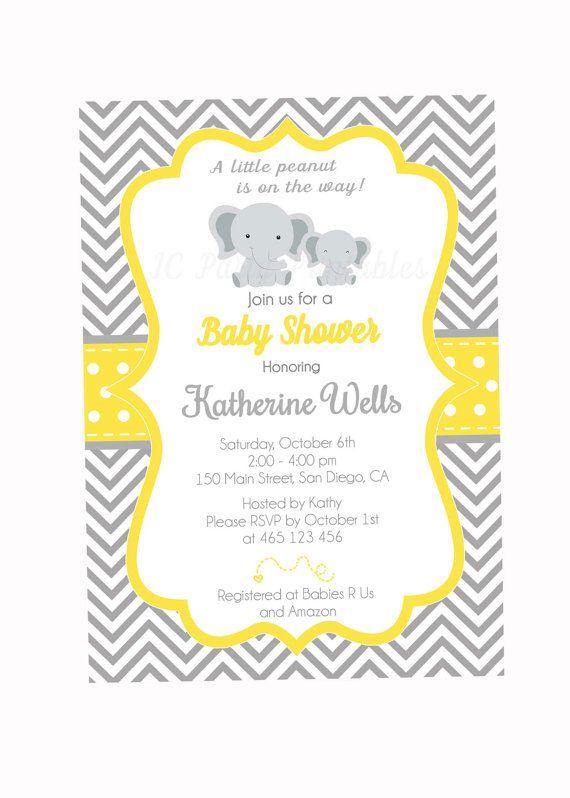 Gris y Chevron amarillo de la invitación de la ducha de bebé.