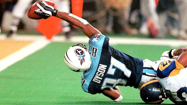 Tennesee Titan Receiver Kevin Dyson Is Tackled Just One Yard Shy Of The Goal Line On Final Play Superbowl 34 Preserving St Louis Rams Victory