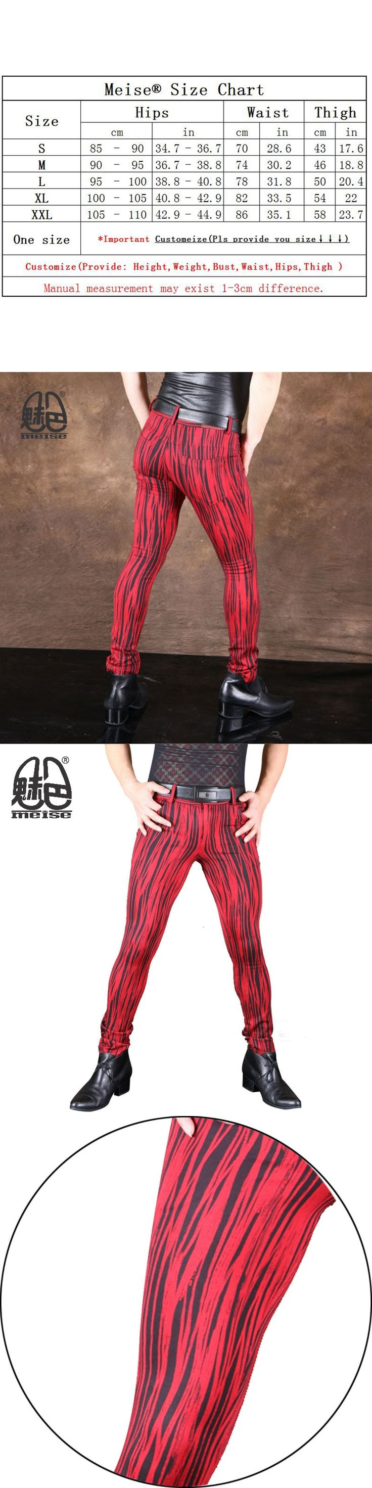 2017 New Fashion Elastic Denim Red Bark Pattern Pencil Pants for Men Cotton Slim Fit Casual Soft Comfortable Fabric Customize