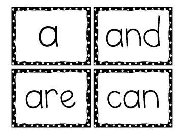FOR SALE - Kindergarten Word Wall Words, Black Dots