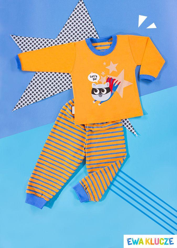EWA KLUCZE, pomarańczowa piżamka z długim rękawem COMICS, ubranka dla dzieci, EWA KLUCZE, COMICS pijamas, baby clothes, Детская одежда