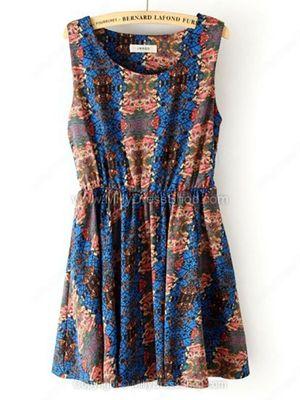 Blue Sleeveless Elastic Waist Floral Tank Dress