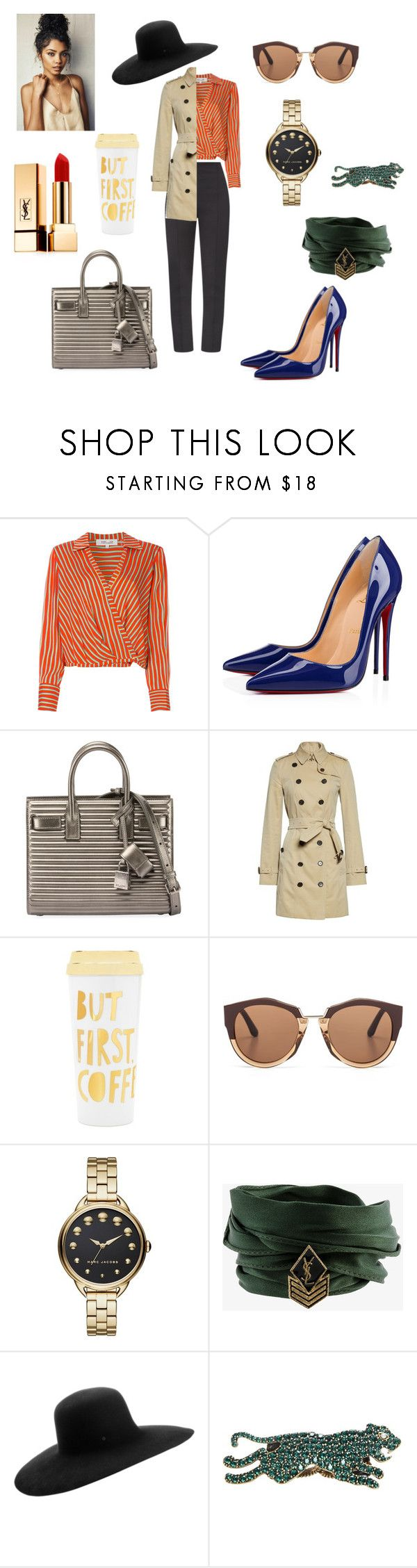 """""""Untitled #341"""" by gloriatovizi on Polyvore featuring Maticevski, Diane Von Furstenberg, Christian Louboutin, Yves Saint Laurent, Burberry, ban.do, Marni, Marc Jacobs, Maison Michel and Gucci"""