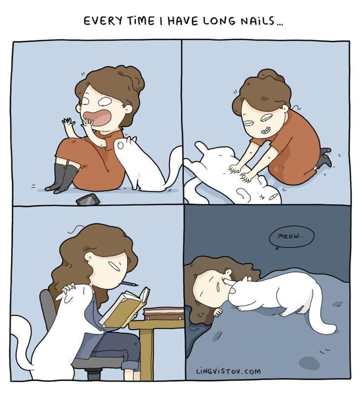 18 cómics que resumen perfectamente vivir con un gato