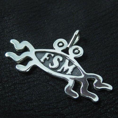Silver Flying Spaghetti Monster pendant