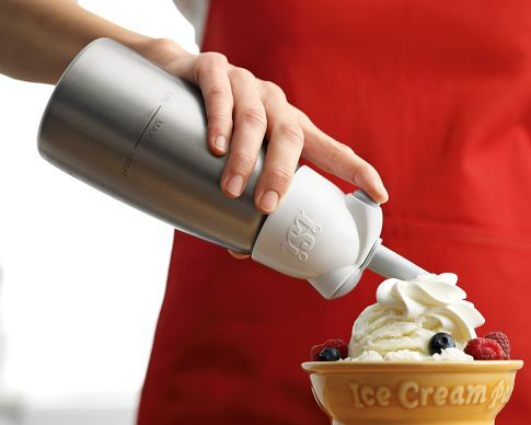 Awesome gadget! Instantly makes whipped cream & stays fresh for 7-10 days. This mini one is $55.00 but the larger one is 140.