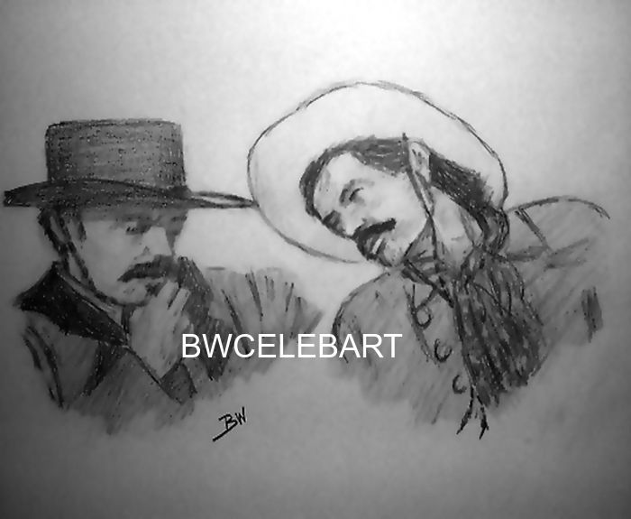TOMBSTONE MOVIE ORIGINAL PENCIL DRAWING JOHNNY RINGO CURLY BILL POWERS BOOTHE #Realism