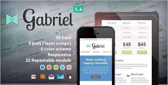 180 Absolute Best Responsive Email Templates - Gabriel - Responsive E-mail Template