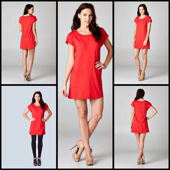 Tomato Red Tunic Top-Dress W/Back Button Detail Cute tomato red tunic (not a deep red or true red, more of an orange red) with back button detail. Wear with leggings or as a dress. 95%rayon 5% spandex Made in the USA. Tillie Creek Clothing Dresses